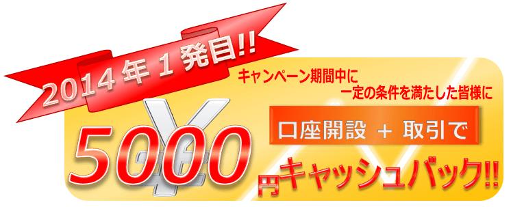 2014年口座開設+取引5000円キャッシュバック