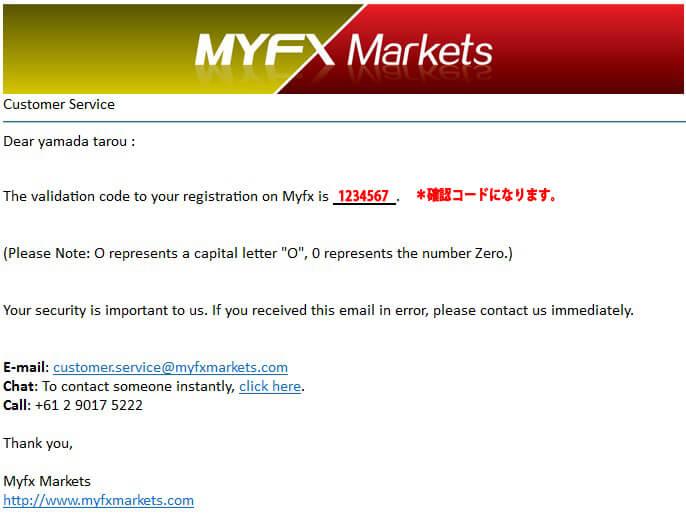MyfxMarkets認証メール