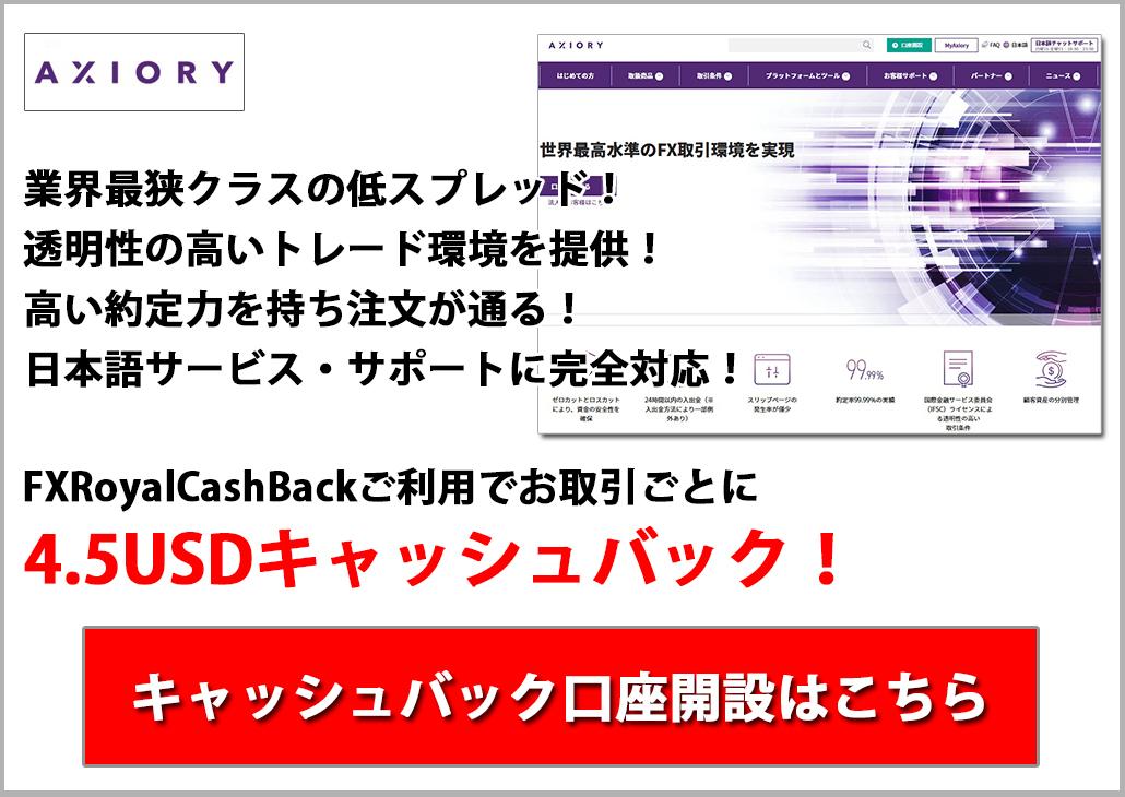 最狭スプレッド提供の新興FX業者AXIORY 3.75USDキャッシュバック!キャッシュバック口座開設はこちら