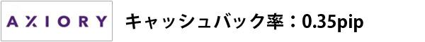 axioryキャッシュバック率:0.35pip