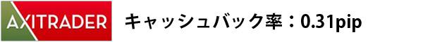 axitraderキャッシュバック率:0.31pip