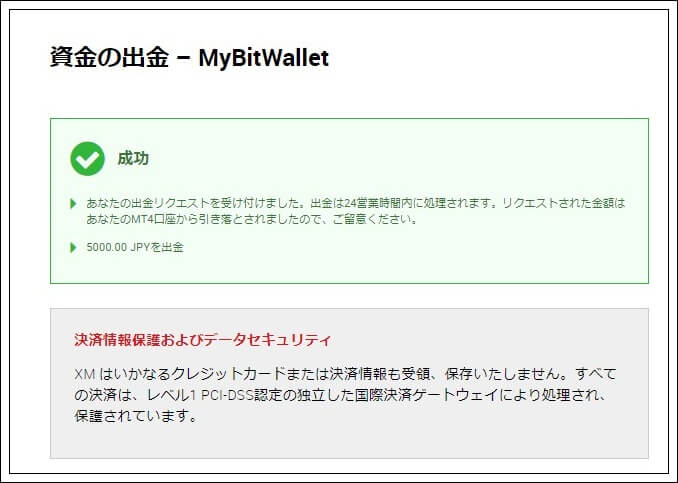 mybitwallet出金完了