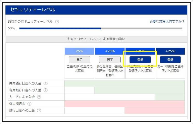 銀行情報登録