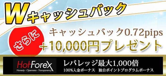 HotForexWキャッシュバックキャンペーン口座開設で10000円
