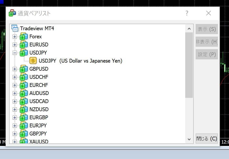 TradeView表示通貨ペア