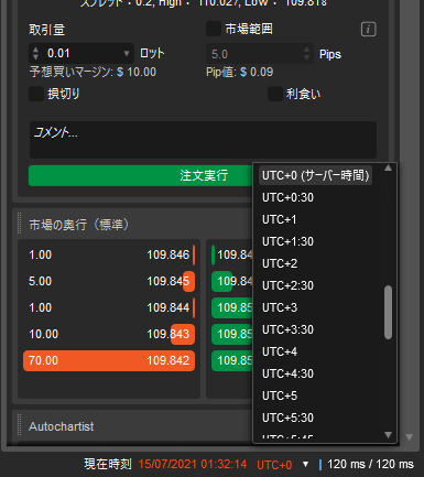 cTrader日本時間へ変更