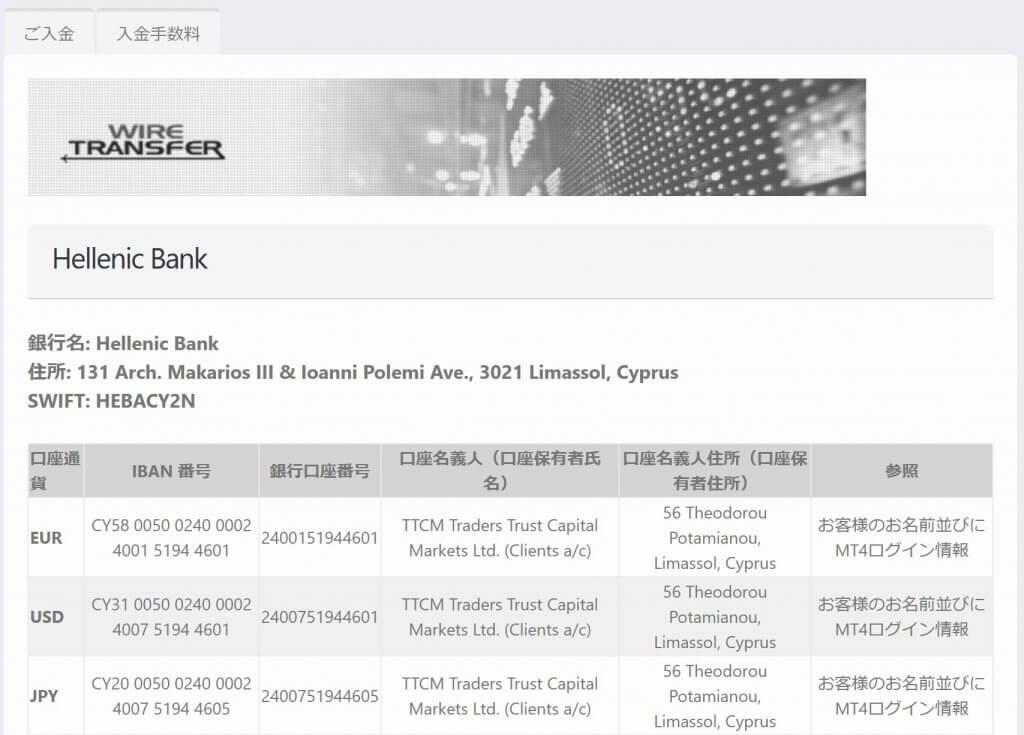 銀行送金先情報